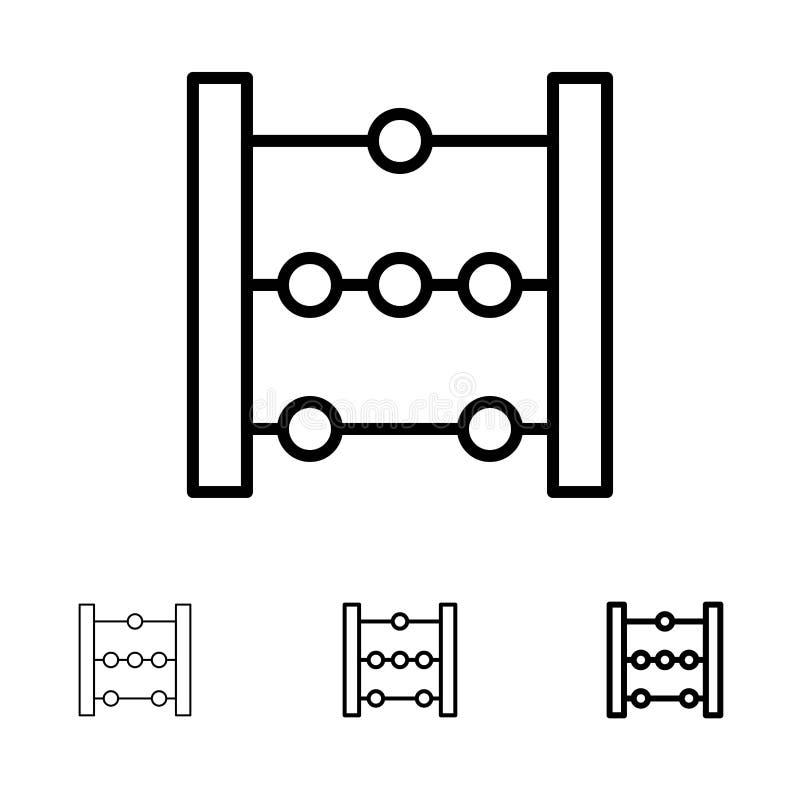 Telraam, Onderwijs, het pictogramreeks van de Wiskunde Gewaagde en dunne zwarte lijn stock illustratie