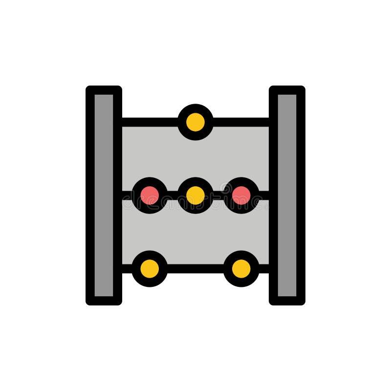 Telraam, Onderwijs, Pictogram van de Wiskunde het Vlakke Kleur Het vectormalplaatje van de pictogrambanner stock illustratie