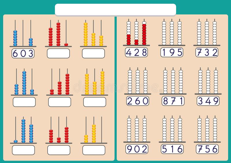 Telraam voor Aantallen tot 999, wiskundeaantekenvel voor jonge geitjes royalty-vrije illustratie