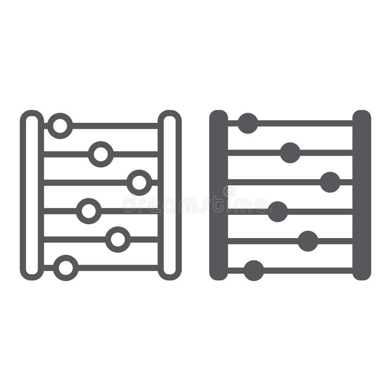 Telraamlijn en glyph pictogram, boekhouding en wiskunde, tellend teken, vectorafbeeldingen, een lineair patroon op een wit stock illustratie