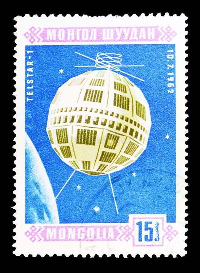 Telstar-1 (10 7 1962), Serie dos satélites do espaço, cerca de 1966 imagens de stock