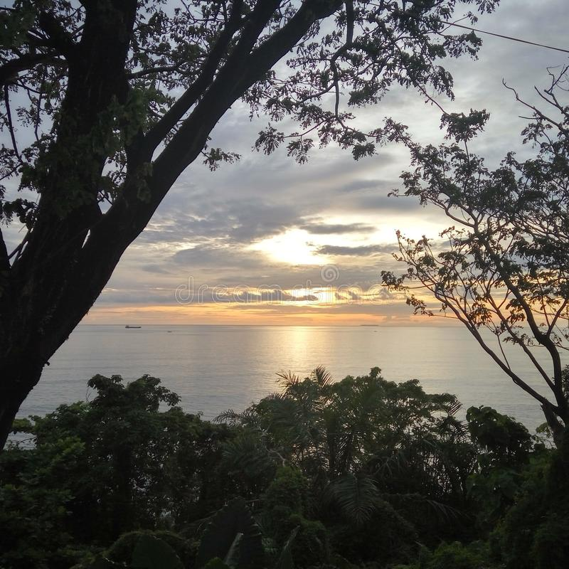 Teluk巴尤尔日落 图库摄影