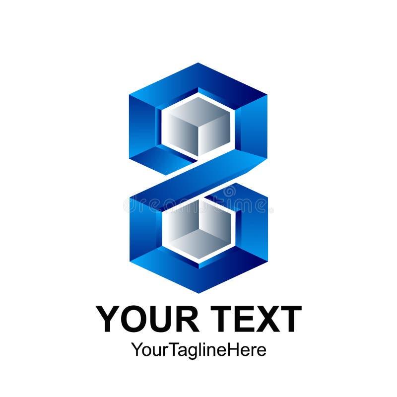 Tem abstrait créatif de conception de logo de vecteur du numéro huit de l'hexagone 3D illustration libre de droits