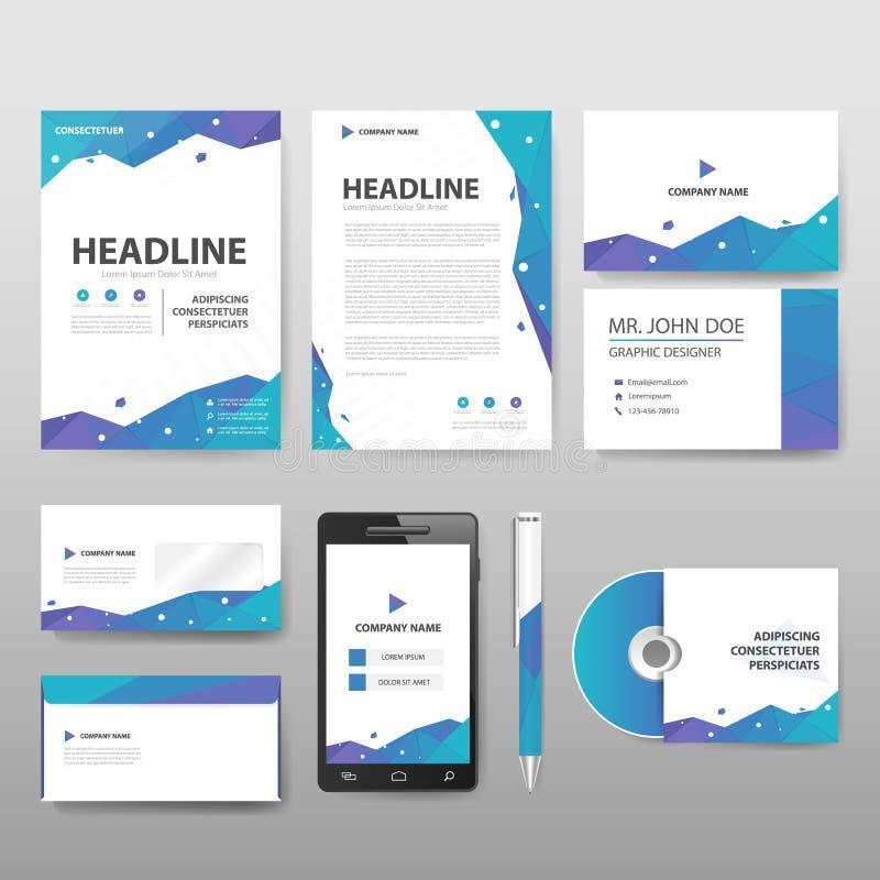 Tem för uppsättning för företags identitet för staionery för blå gräsplan purpurfärgad Polygonal stock illustrationer