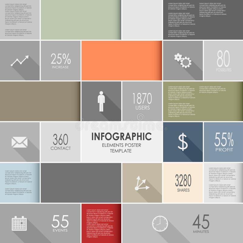 Tem grafico del manifesto degli elementi di informazioni variopinte astratte illustrazione vettoriale