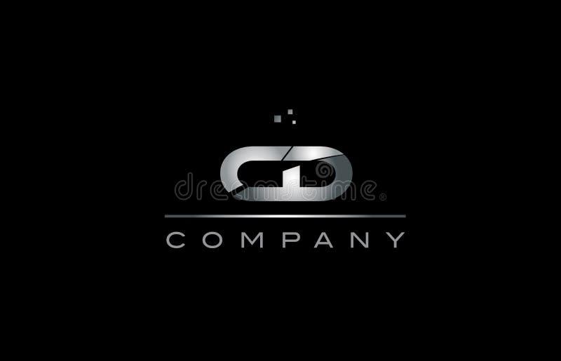 tem métallique d'icône de logo de lettre d'alphabet de c d en métal cd de gris argenté illustration stock