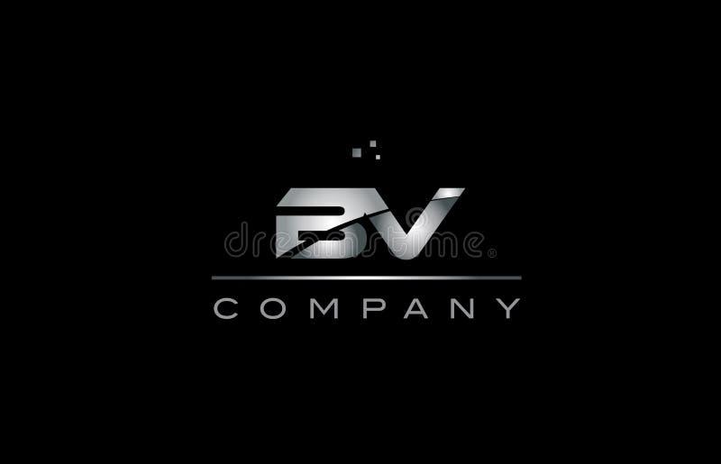 tem metálico do ícone do logotipo da letra do alfabeto do metal do cinza de prata da BV b.v ilustração do vetor
