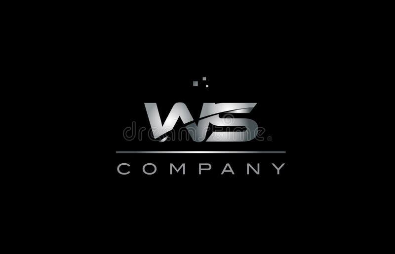 tem metálico do ícone do logotipo da letra do alfabeto do metal do cinza de prata da WS w s ilustração stock