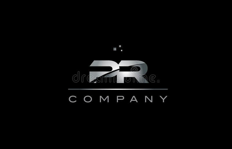 tem metálico do ícone do logotipo da letra do alfabeto do metal do cinza de prata do PR p r ilustração do vetor