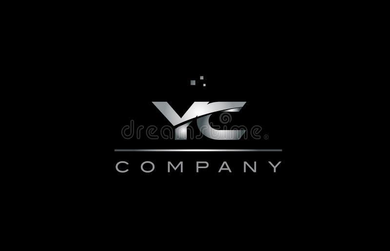 tem metálico do ícone do logotipo da letra do alfabeto do metal do cinza de prata do yc y c ilustração do vetor