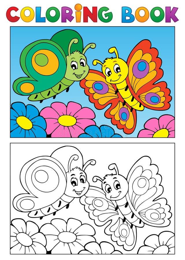 Tema 1 da borboleta do livro para colorir ilustração royalty free