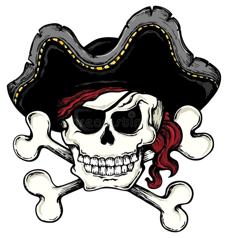 Tema 1 del cráneo del pirata de la vendimia stock de ilustración