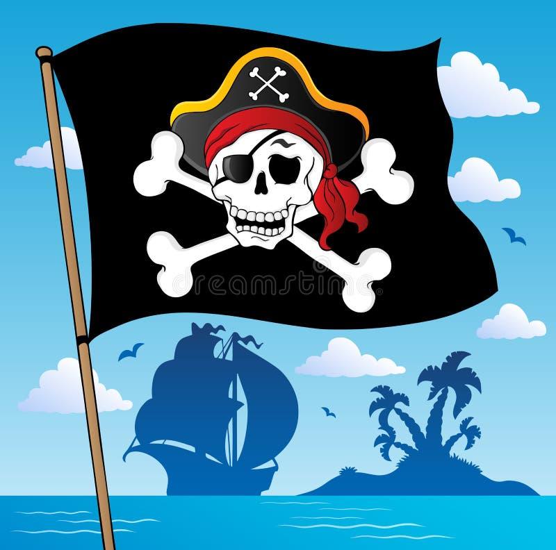 Tema 2 da bandeira do pirata ilustração do vetor