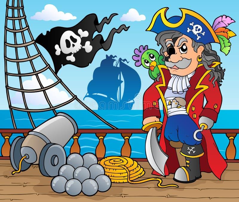 Tema 3 da plataforma do navio de pirata ilustração do vetor