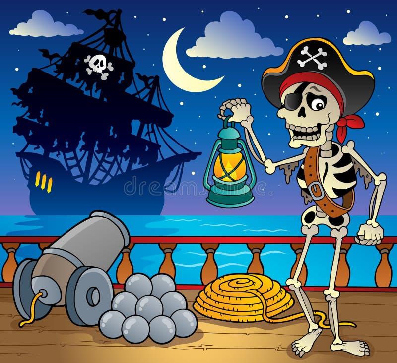 Tema 7 della piattaforma della nave di pirata illustrazione di stock