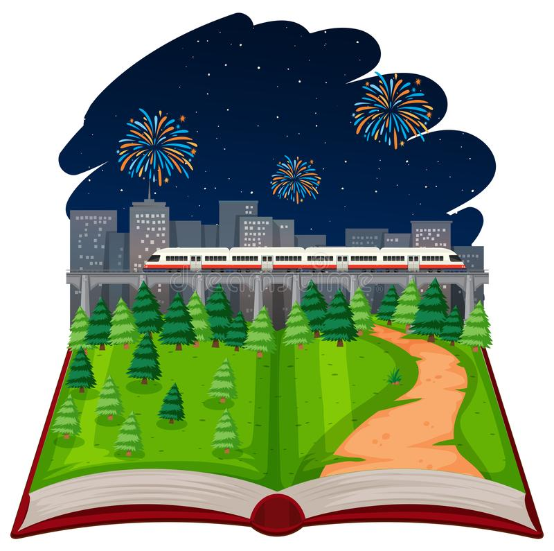 Tema abierto del fuego artificial del libro ilustración del vector