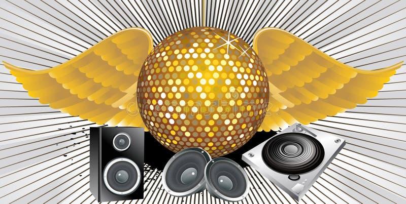 Tema abstracto de la música con la bola del disco stock de ilustración