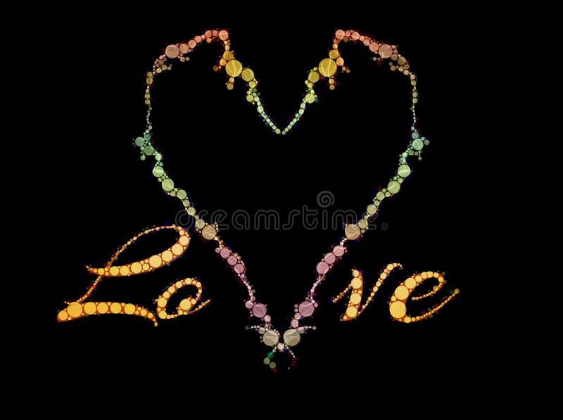 Tema adornado del corazón del amor stock de ilustración