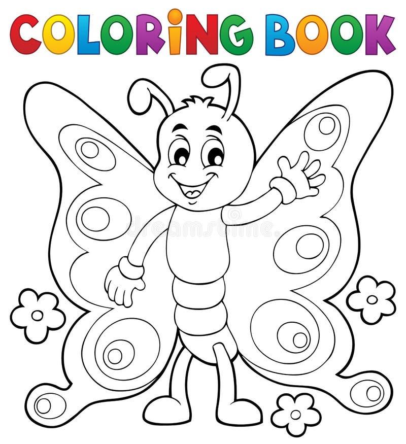 Tema alegre 1 da borboleta do livro para colorir ilustração do vetor