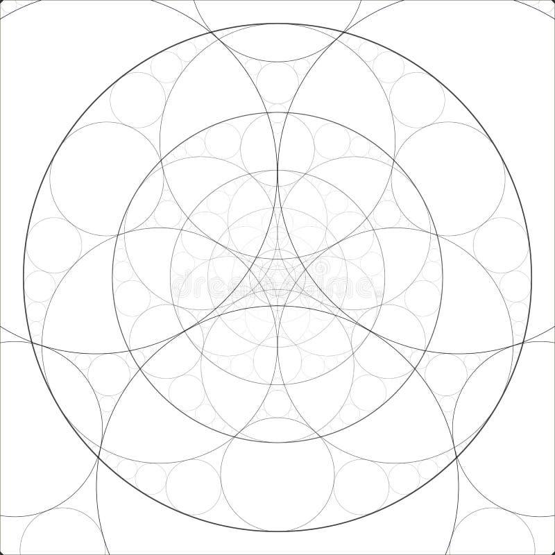 Tema alquímico abstracto Fondo del arte del fractal Geometría sagrada Modelo misterioso de la relajación Ilustraciones de Digitac stock de ilustración