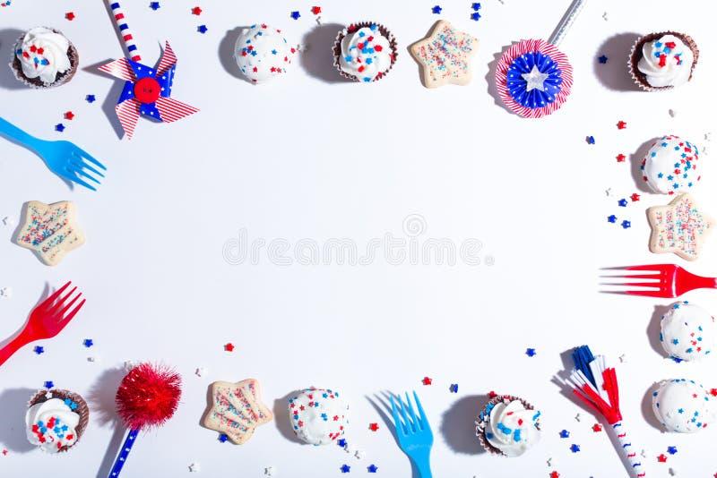 Tema americano di festa con i dessert fotografia stock
