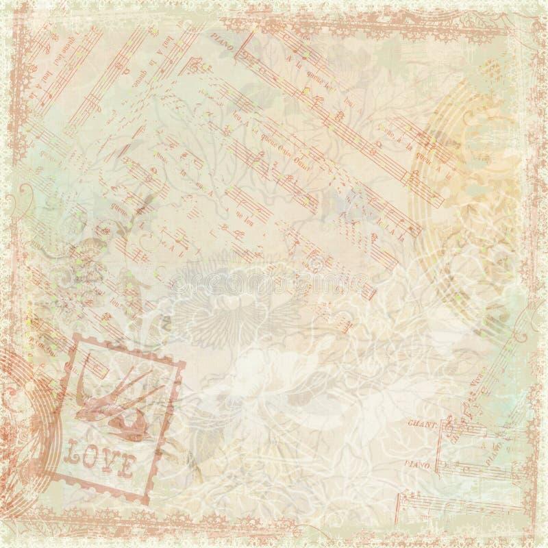 Tema antigo floral do fundo do vintage ilustração stock