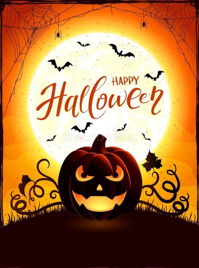 Tema arancio di Halloween con la lanterna di Jack O sul backgroun della luna illustrazione di stock