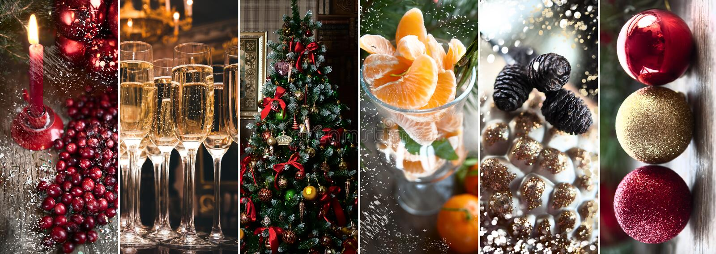 Tema av det nya året, jul, stilfull collage Stearinljus och c arkivbild