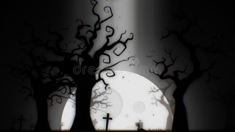 Tema blanco del fondo fantasmagórico de Halloween, con el árbol, la luna, los palos, la mano del zombi y el cementerio fantasmagó stock de ilustración