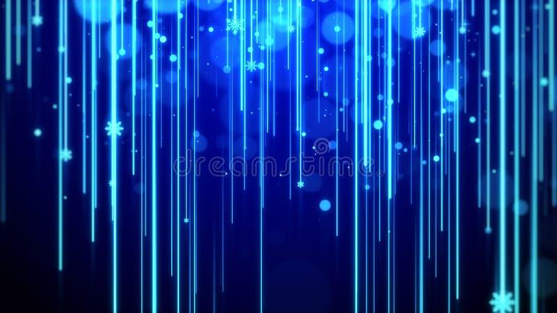 Tema blu del fondo di Natale, con la striscia palida, brillare del bokeh ed il fiocco di neve delle particelle illustrazione di stock