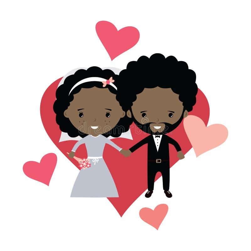 tema bonito adorável dos desenhos animados da união do noivo e da noiva ilustração do vetor
