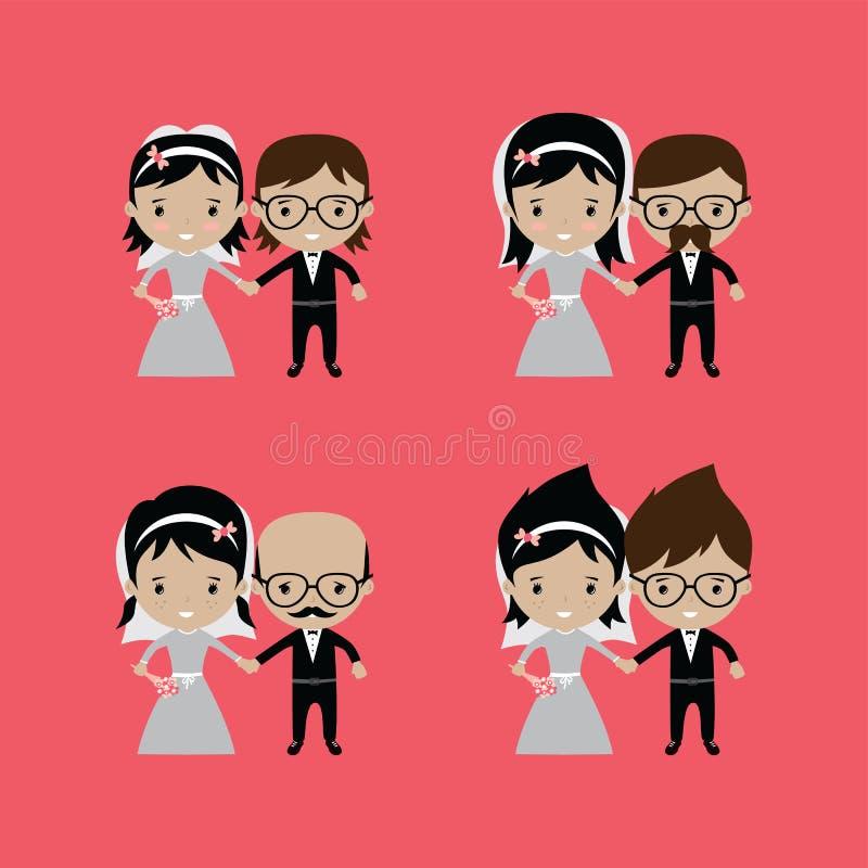 tema bonito adorável dos desenhos animados da união do noivo e da noiva ilustração royalty free