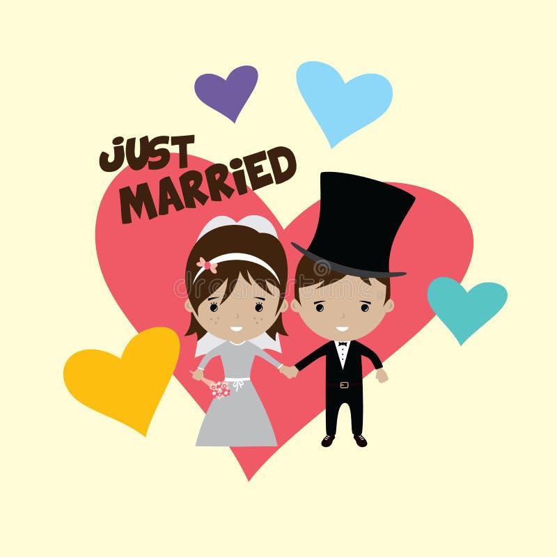 tema bonito adorável dos desenhos animados da união do noivo e da noiva ilustração stock