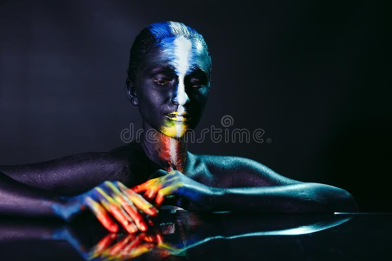 Tema creativo di body art di bellezza e di trucco fotografie stock