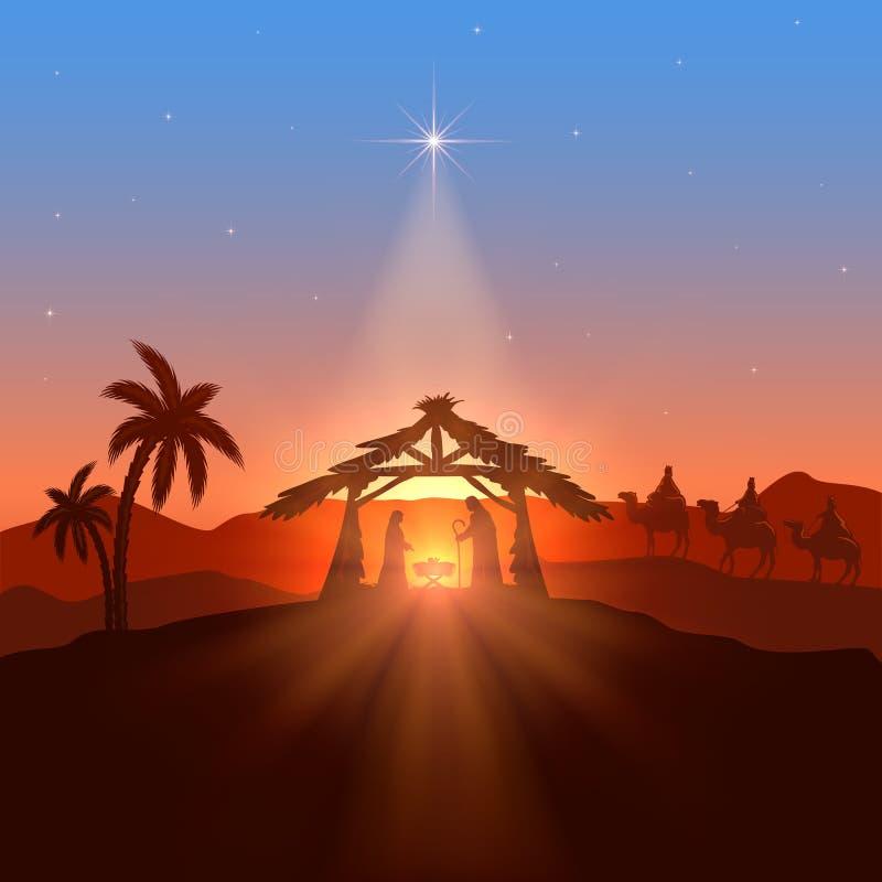 Tema cristão com estrela do Natal ilustração royalty free