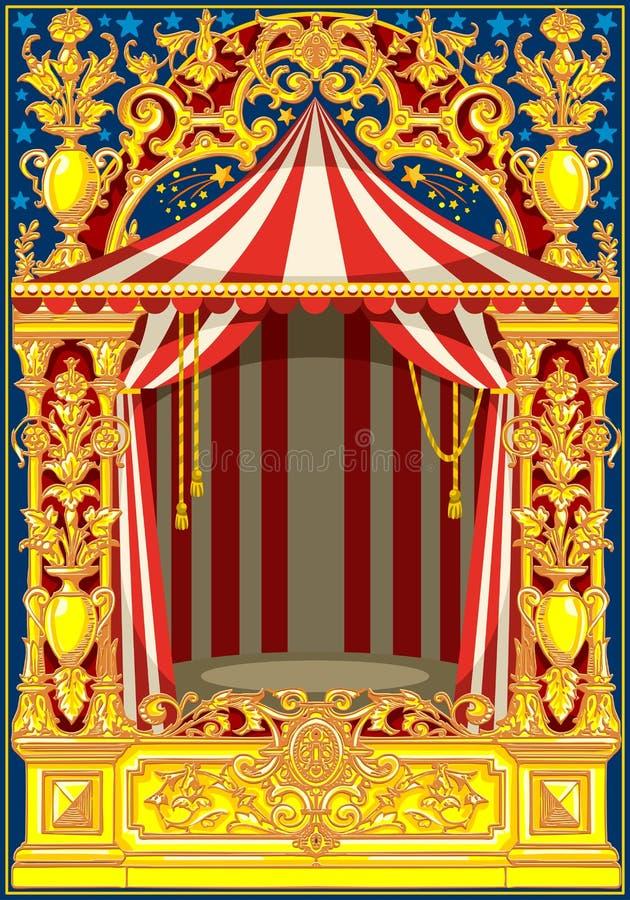 Tema d'annata del circo del manifesto di carnevale illustrazione vettoriale