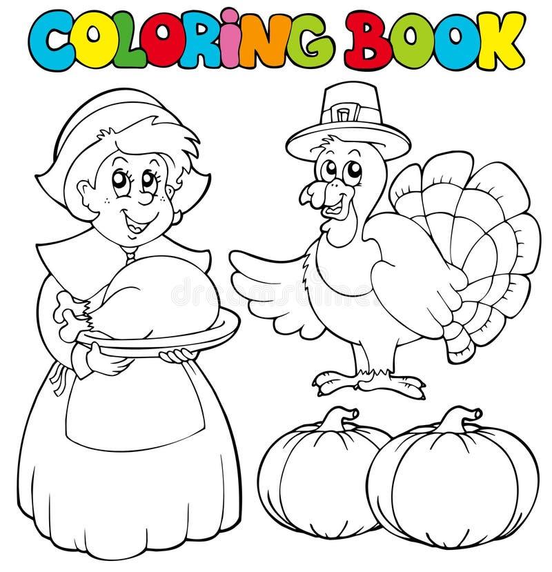 Tema da acção de graças do livro de coloração ilustração do vetor