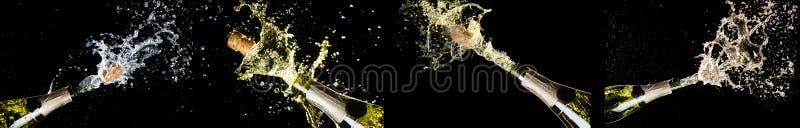 Tema da celebração com explosão de espirrar garrafas de vinho espumante do champanhe no fundo preto Aniversário, ano novo, Christ fotografia de stock royalty free