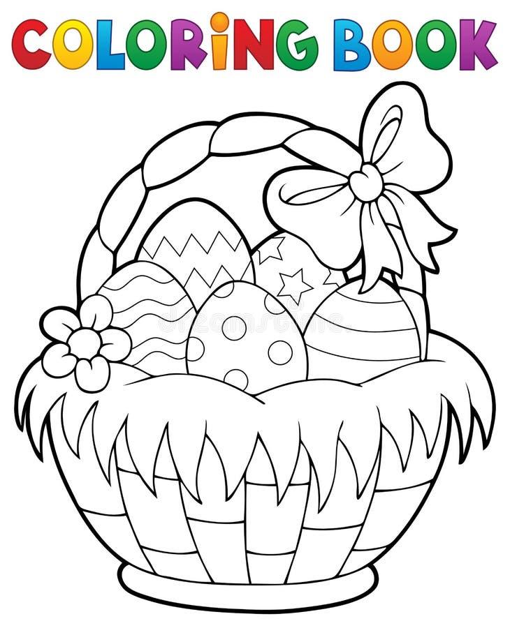 Tema 1 da cesta da Páscoa do livro para colorir ilustração stock