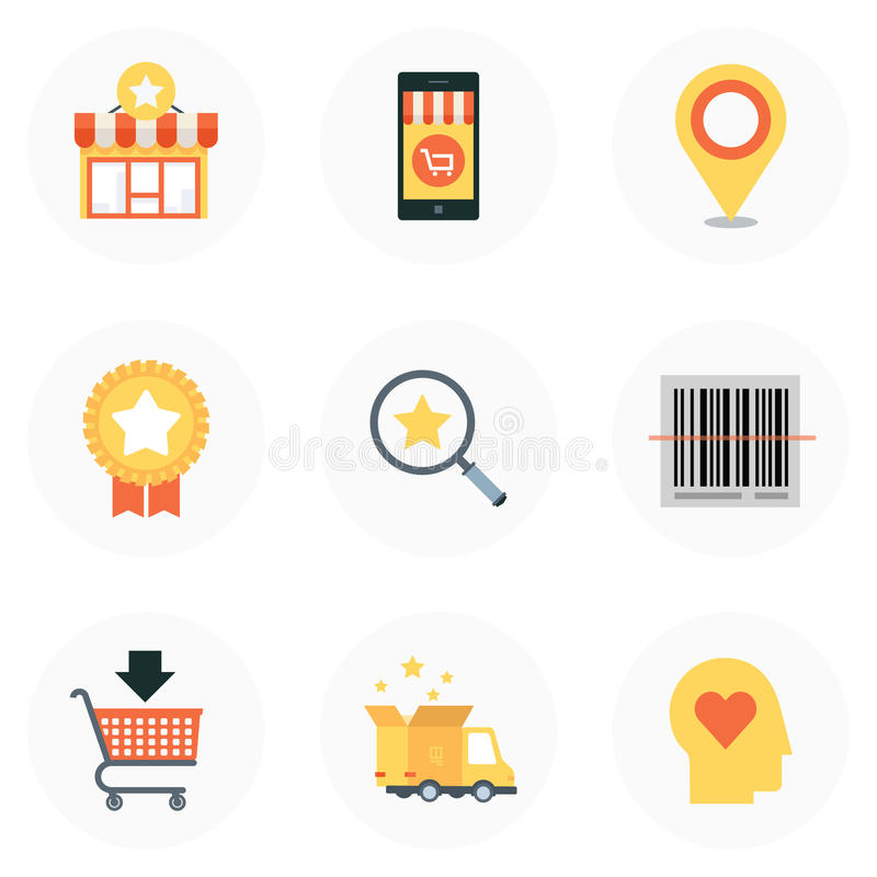 Tema da compra, estilo liso, colorido, grupo do ícone imagens de stock