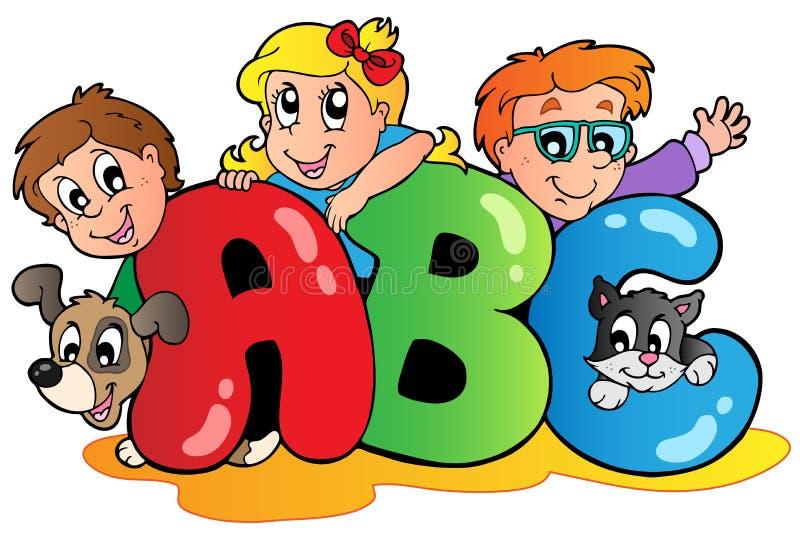 Tema da escola com leters do ABC ilustração stock