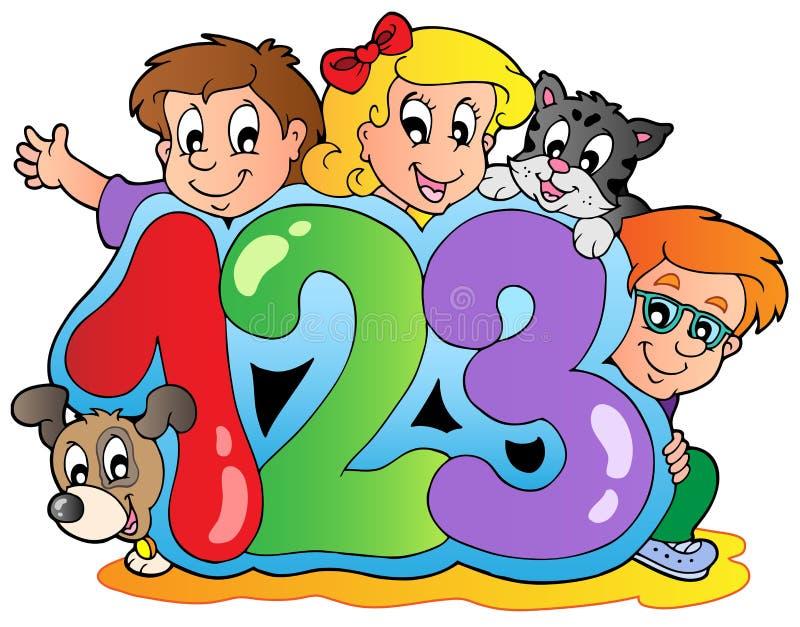 Tema da escola com números ilustração do vetor
