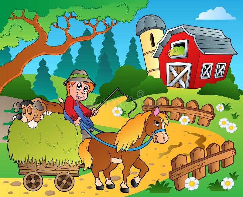 Tema da exploração agrícola com celeiro vermelho 8 ilustração do vetor