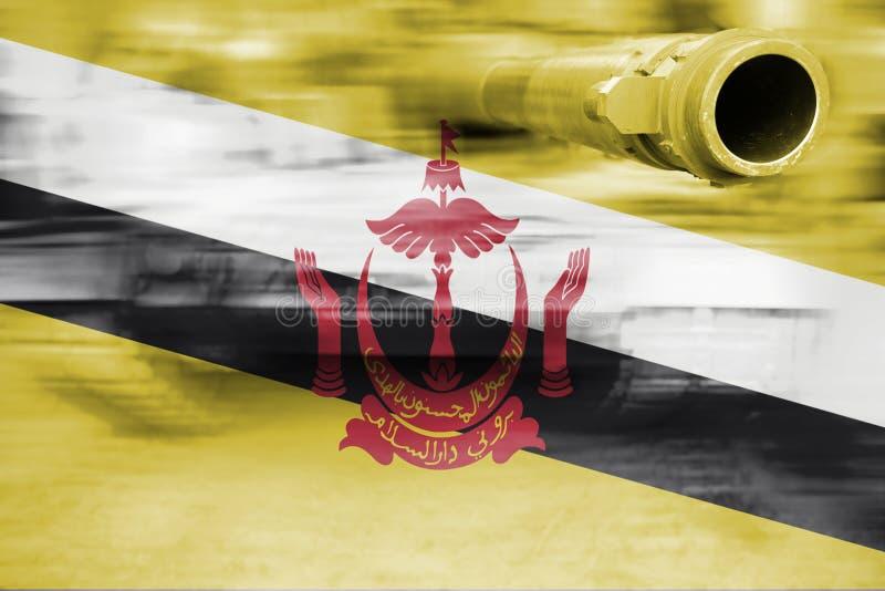 Tema da força militar, tanque do borrão de movimento com Brunei Darussalam Darussalam fotografia de stock