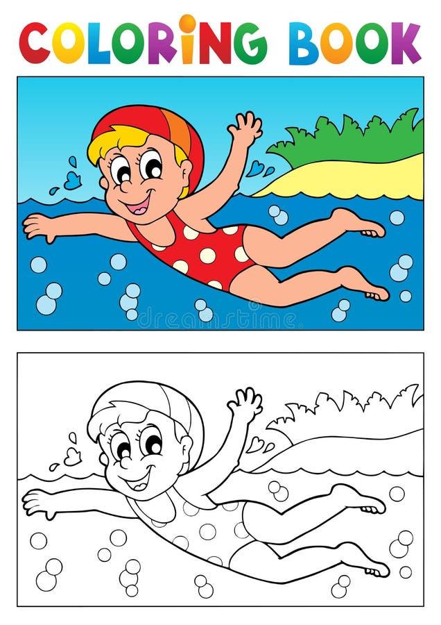 Tema 2 da natação do livro para colorir ilustração do vetor