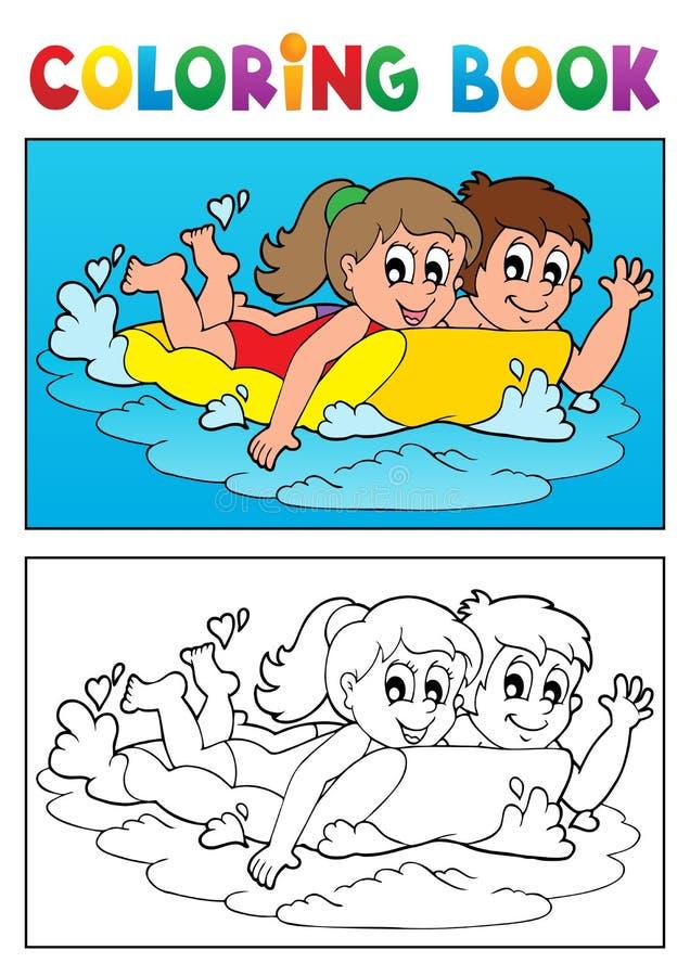 Tema 3 da natação do livro para colorir ilustração stock