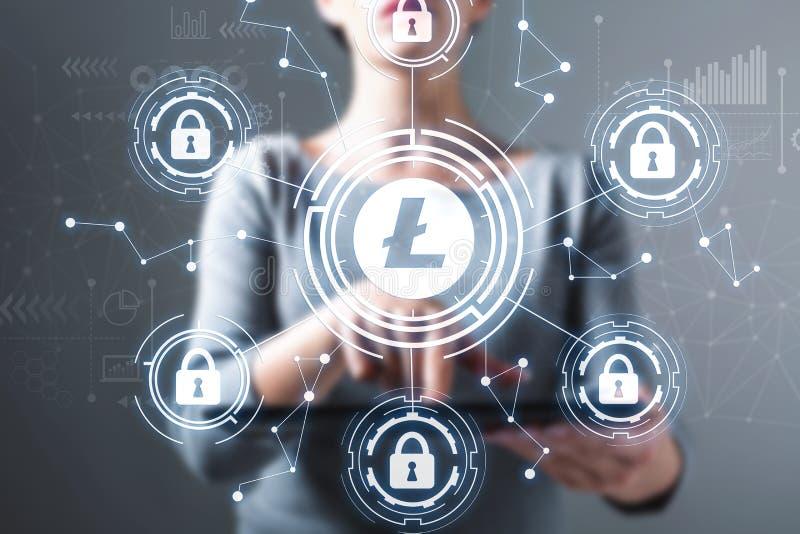 Tema da segurança de Litecoin com a mulher que usa uma tabuleta imagens de stock royalty free