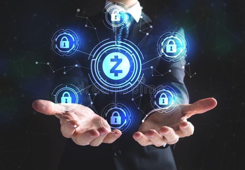 Tema da segurança do cryptocurrency de Zcash com homem de negócios fotografia de stock royalty free