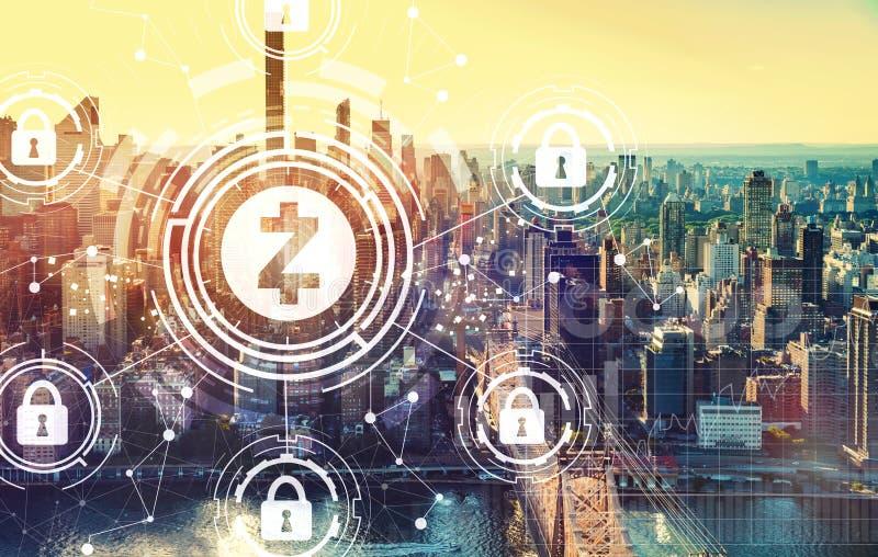 Tema da segurança do cryptocurrency de Zcash com New York City imagem de stock royalty free