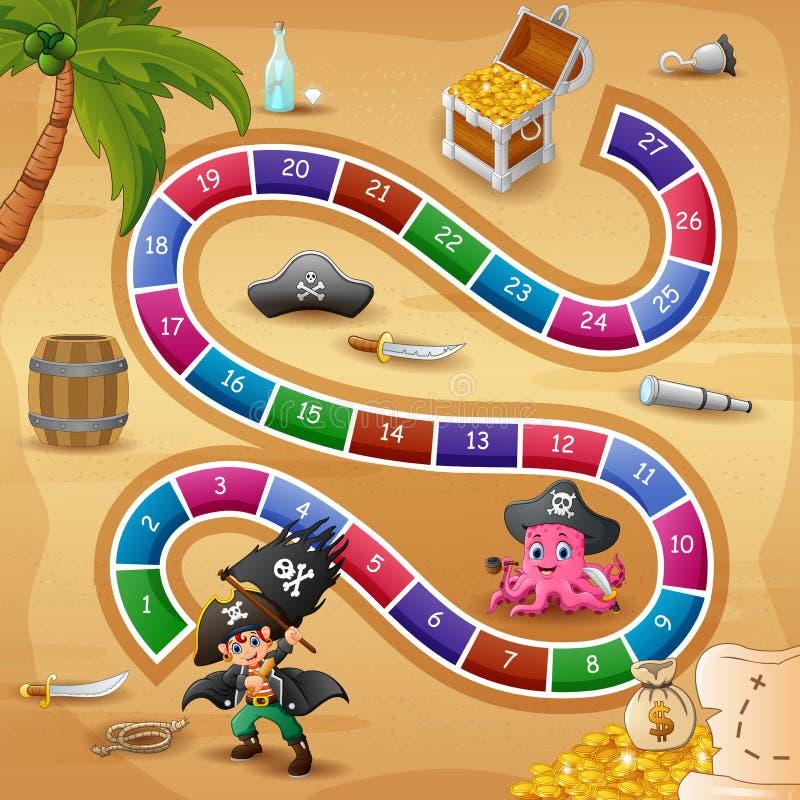 Tema das serpentes e dos piratas do jogo das escadas ilustração stock